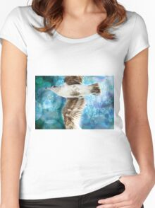 Gull with Watercolor Background Women's Fitted Scoop T-Shirt