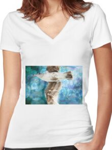Gull with Watercolor Background Women's Fitted V-Neck T-Shirt