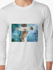 Gull with Watercolor Background Long Sleeve T-Shirt