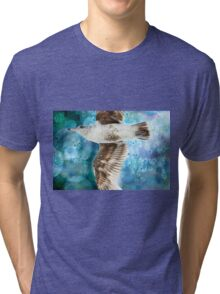 Gull with Watercolor Background Tri-blend T-Shirt