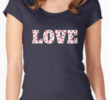 Love with Heart Pattern Women's Fitted Scoop T-Shirt