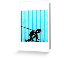 Man on a Leash Greeting Card