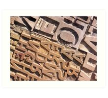 Type Carved Out of Stone Art Print