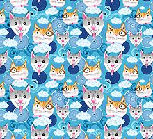 pattern funny portraits of dogs and cats by Tanor
