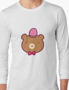 Strawberry Bear Face Long Sleeve T-Shirt