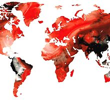 Map of The World 10 -Colorful Abstract Art by Sharon Cummings