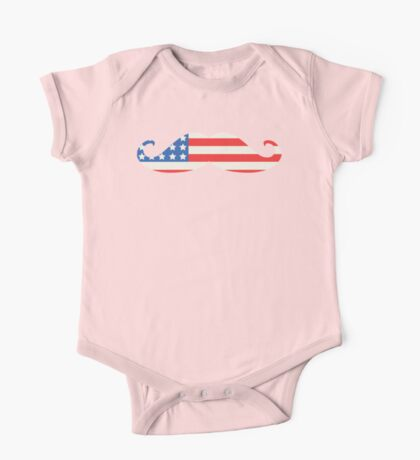 USA Flag Moustache One Piece - Short Sleeve