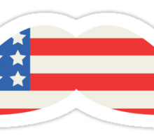 USA Flag Moustache Sticker