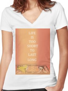 blink 182 bored to death Women's Fitted V-Neck T-Shirt