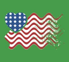 Wavy America Heart Flag by CarbonClothing