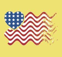 Wavy America Heart Flag Kids Tee