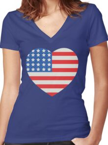America Flag Heart 4th Of July Women's Fitted V-Neck T-Shirt