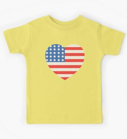 America Flag Heart 4th Of July Kids Tee