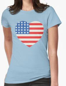 America Flag Heart 4th Of July Womens Fitted T-Shirt