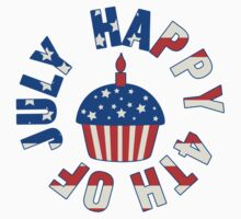 Happy 4th Of July Cupcake Kids Tee
