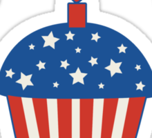 Happy 4th Of July Cupcake Sticker