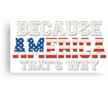 Because America That's Why Canvas Print