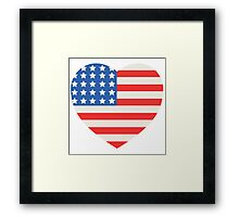America Flag Heart 4th Of July Framed Print