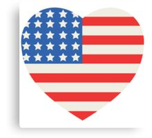 America Flag Heart 4th Of July Canvas Print