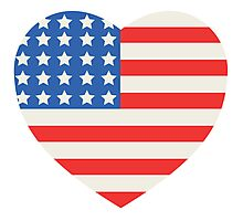 America Flag Heart 4th Of July Photographic Print