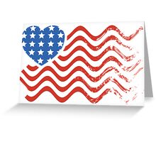 Wavy America Heart Flag Greeting Card