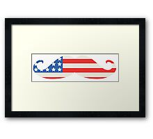 USA Flag Moustache Framed Print