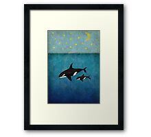 Whales at night Framed Print