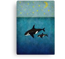 Whales at night Canvas Print