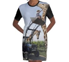 Tickle A Giraffe Graphic T-Shirt Dress
