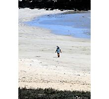 Galapagos Beach Kid Watercolor Photographic Print