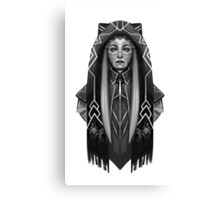 Robot Girl in Tribal Hood Greyscale Canvas Print