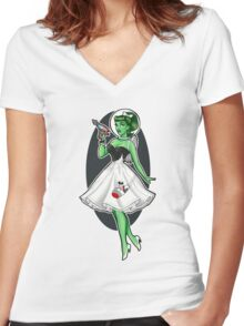 Space Girl Pin up Women's Fitted V-Neck T-Shirt