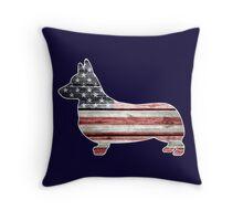 Patriotic Corgi Throw Pillow