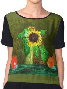 Piet's Sunflower in a Vase Chiffon Top