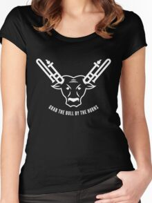 Grab The Bull By The Horns (White) Women's Fitted Scoop T-Shirt