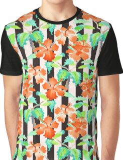 Watercolor Orange Hibiscus Black White Stripes Pattern Graphic T-Shirt