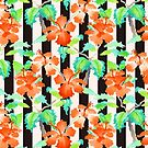Watercolor Orange Hibiscus Black White Stripes Pattern by Beverly Claire Kaiya