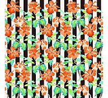 Watercolor Orange Hibiscus Black White Stripes Pattern Photographic Print
