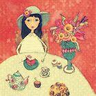 Drinking tee, blank note card by aquaarte