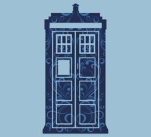 Blue Filigree TARDIS Kids Tee