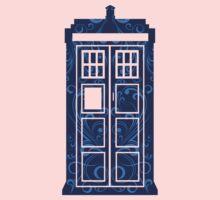 Blue Filigree TARDIS One Piece - Short Sleeve