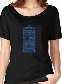 Blue Filigree TARDIS Women's Relaxed Fit T-Shirt