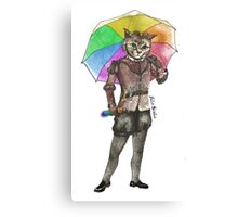 Steampunk Cat with Rainbow Umbrella  Canvas Print