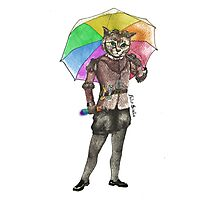 Steampunk Cat with Rainbow Umbrella  Photographic Print