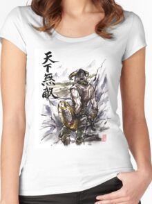Unbeatable Dragonborn Sumi/watercolor Women's Fitted Scoop T-Shirt