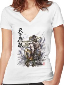 Unbeatable Dragonborn Sumi/watercolor Women's Fitted V-Neck T-Shirt