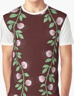 Pink Paper Flower Vine Graphic T-Shirt
