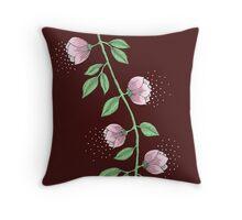 Pink Flower Vine Throw Pillow
