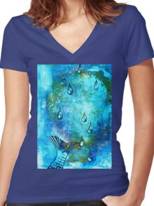 Gone in a Splash faux chine colle Women's Fitted V-Neck T-Shirt