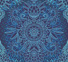 Aqua, Cobalt Blue & Purple Protea Doodle Pattern by micklyn